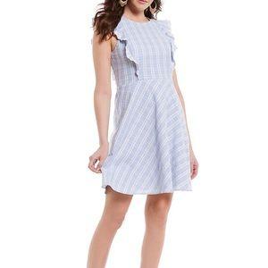 Draper James Linen A-Line Embroidered Ruffle Dress